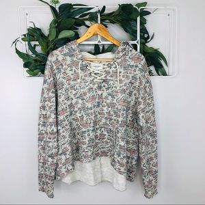 American Eagle Gray Rose Pattern Sweatshirt